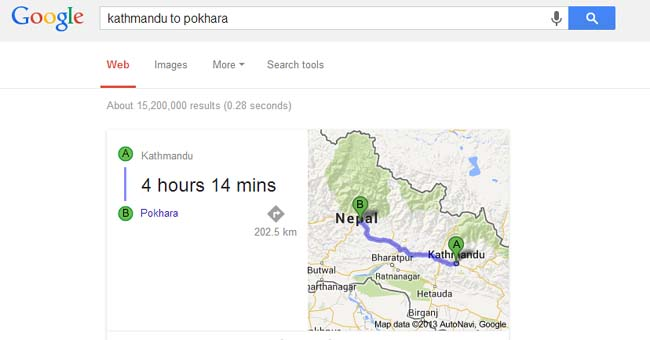 google search engling google search page google home page search distance between Kathmandu to pokhara