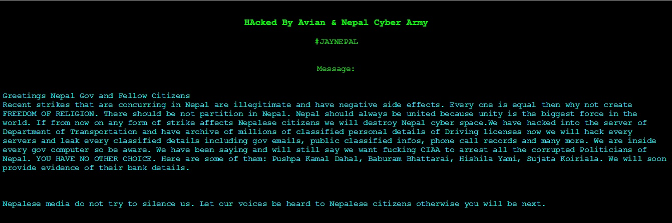 Nepal government's website hacked