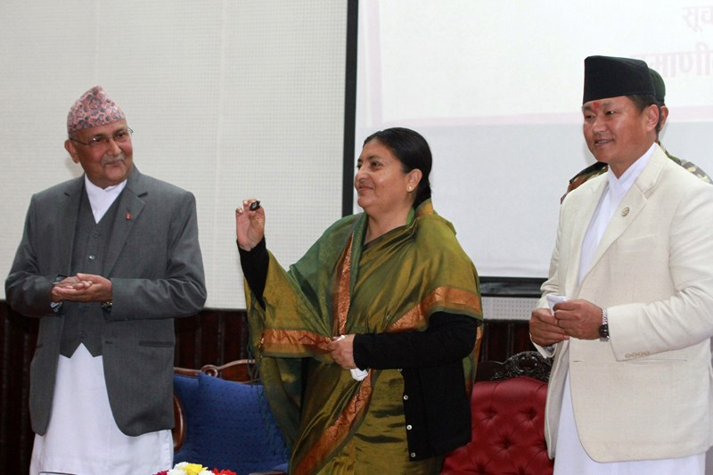 President Bidya Devi Bhandari launches the digital signature campaign, in Kathmandu, December 2, 2015. Photo: RSS