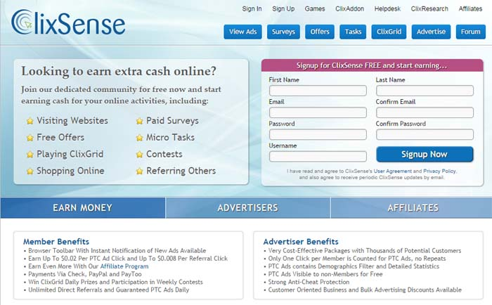 01 Clixsense.com It's a paid to click (PTC) website using which users get paid