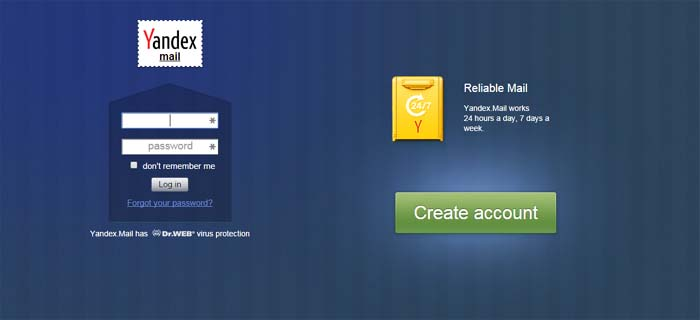 03 Yandex Mail free email service with lots of free online stroage