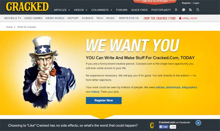 2. Cracked.com one of the biggest comedy websites