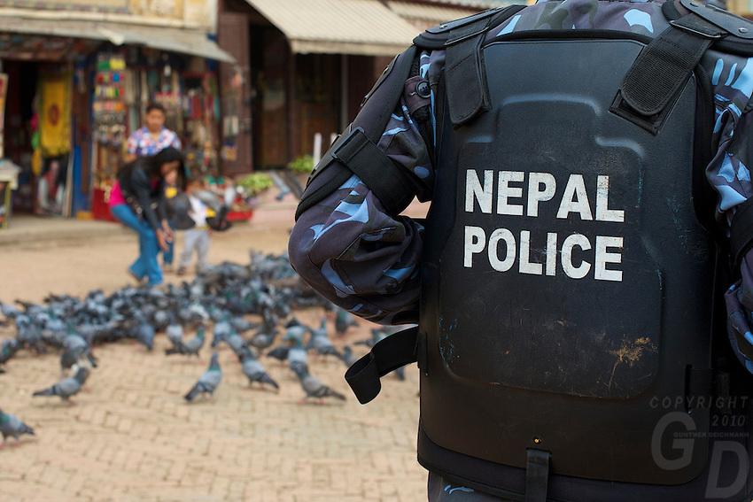 Nepal Police at Boudhanath Kathmandu also known as little Tibet, Nepal