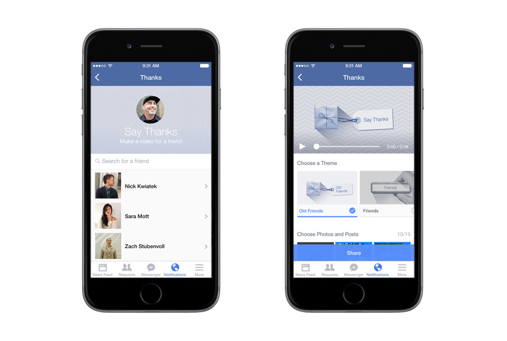 Facebook  Introduces 'say thanks' Video Creation Tools - Doorsanchar