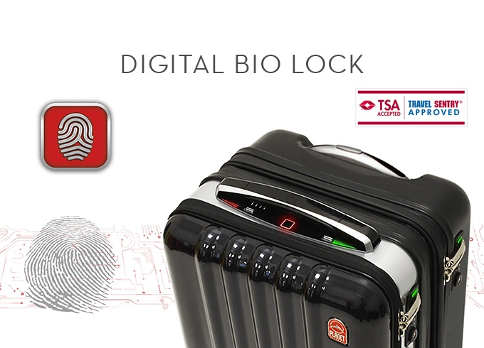 01 high-tech suitcase comes with biometric lock, built-in power bank, Bluetooth speakerphone