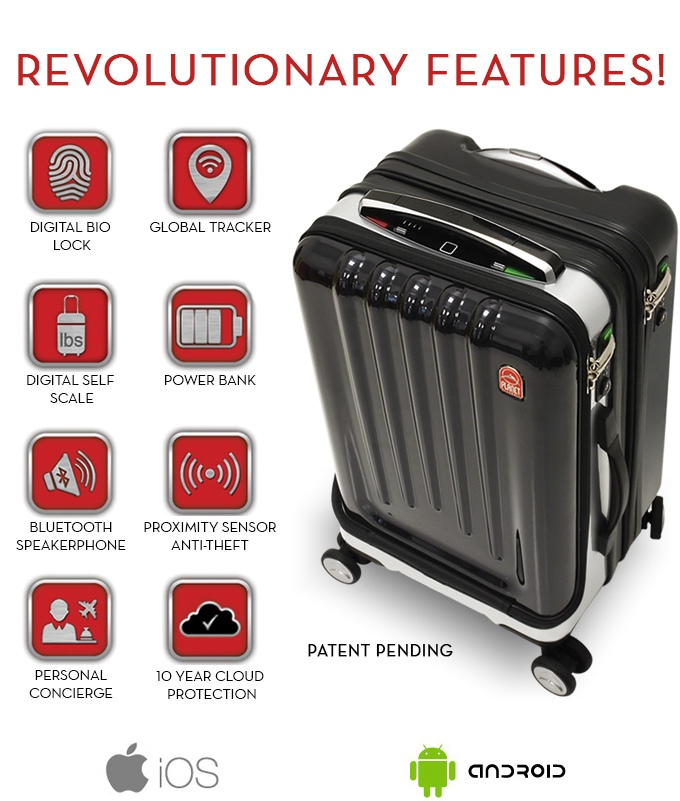 02 high-tech suitcase comes with biometric lock, built-in power bank, Bluetooth speakerphone