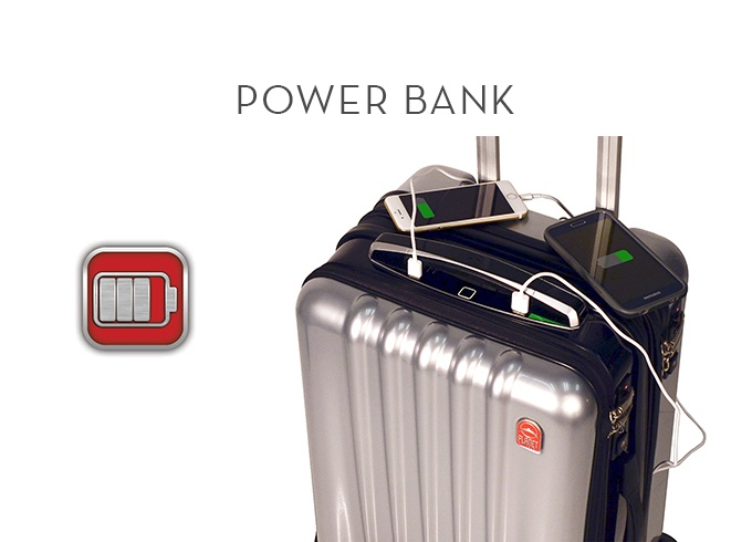 03 high-tech suitcase comes with biometric lock, built-in power bank, Bluetooth speakerphone